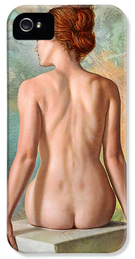 Figure IPhone 5 Case featuring the painting Lovely Back-becca In Abstract by Paul Krapf