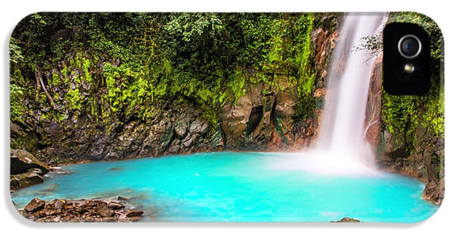 Attraction IPhone 5 Case featuring the photograph Lower Rio Celeste Waterfall by Andres Leon