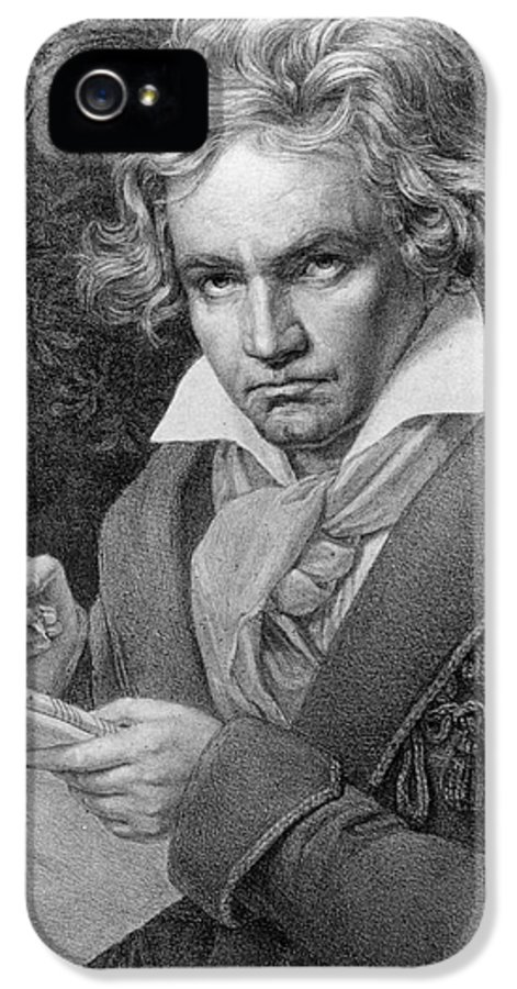 Portrait IPhone 5 Case featuring the drawing Ludwig Van Beethoven by Joseph Carl Stieler