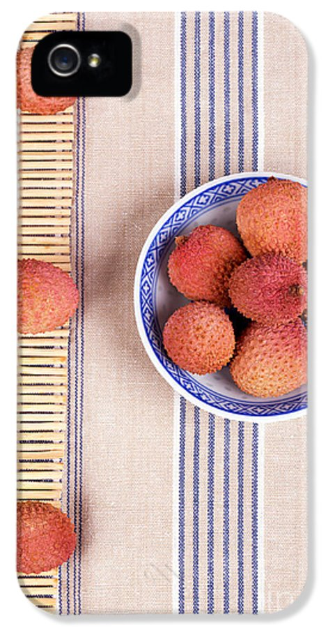 Fruit IPhone 5 Case featuring the photograph Lychess With Bamboo Mat by Jane Rix