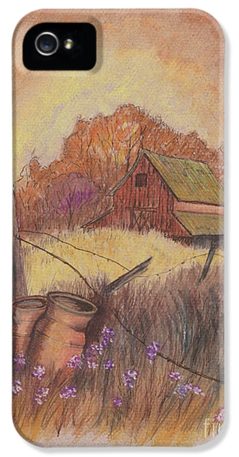 Pastel Drawing IPhone 5 Case featuring the drawing Macgregors Barn Pstl by Carol Wisniewski