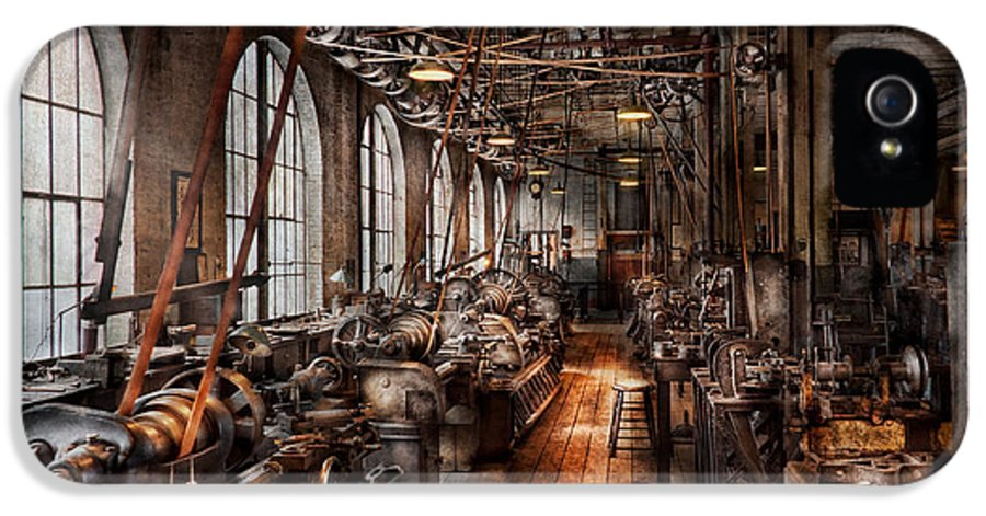 Hdr IPhone 5 Case featuring the photograph Machinist - A Fully Functioning Machine Shop by Mike Savad