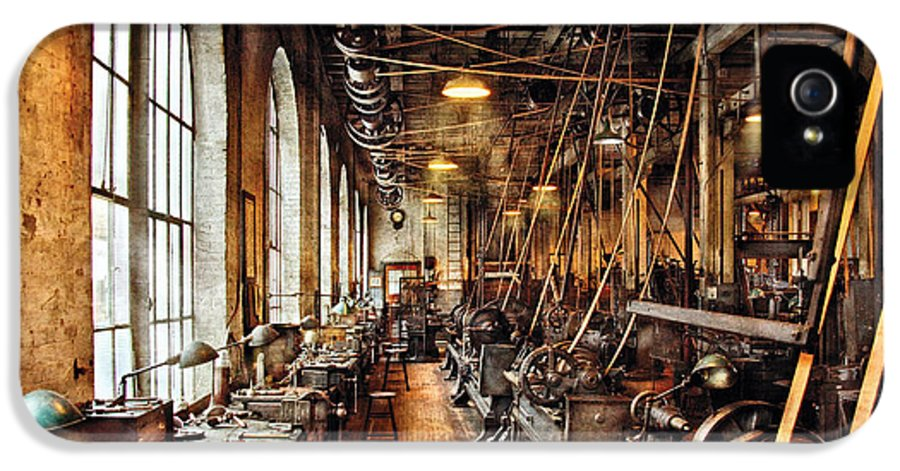 Savad IPhone 5 Case featuring the photograph Machinist - Machine Shop Circa 1900's by Mike Savad