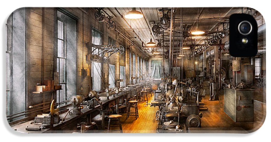 Steampunk IPhone 5 Case featuring the photograph Machinist - Santa's Old Workshop by Mike Savad