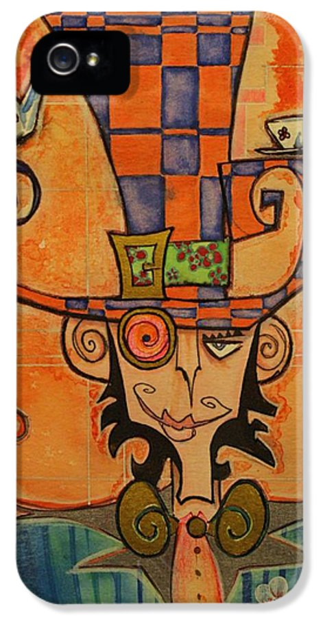 Mad Hatter IPhone 5 Case featuring the drawing Mad Hatter by Ellen Henneke