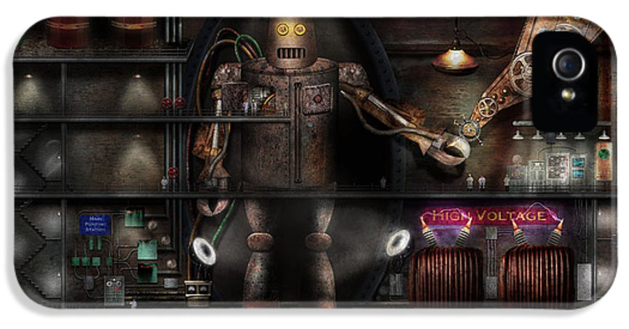 Robot IPhone 5 Case featuring the photograph Mad Scientist - The Enforcer by Mike Savad