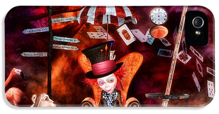 Wonderland IPhone 5 Case featuring the digital art Madness In The Hatter's Realm by Putterhug Studio