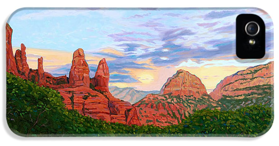 Madonna IPhone 5 Case featuring the painting Madonna And Nuns - Sedona by Steve Simon