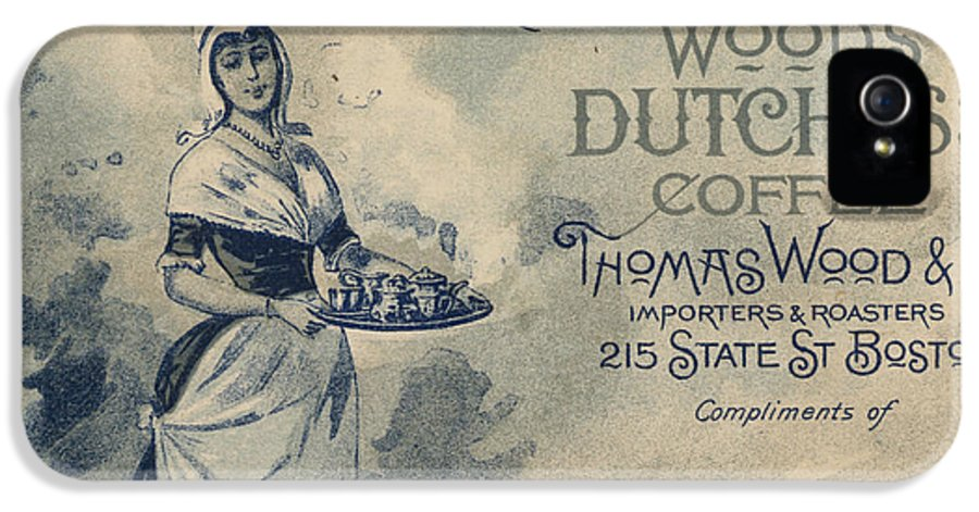 Advertising IPhone 5 Case featuring the painting Maid Serving Coffee Advertisement For Woods Duchess Coffee Boston by American School