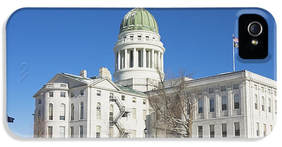Maine IPhone 5 Case featuring the photograph Maine State Capitol Building In Winter Augusta by Keith Webber Jr