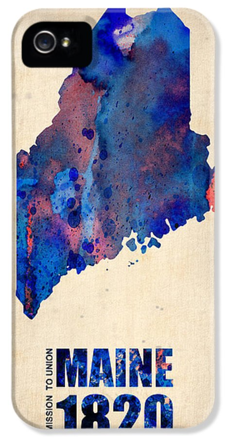 Maine IPhone 5 Case featuring the painting Maine Watercolor Map by Naxart Studio