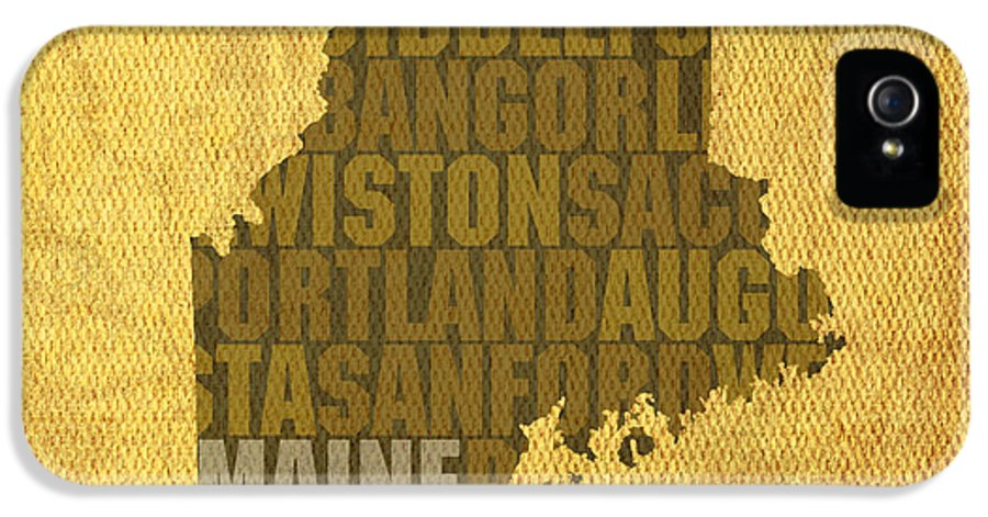 Maine Word Art State Map On Canvas IPhone 5 Case featuring the mixed media Maine Word Art State Map On Canvas by Design Turnpike