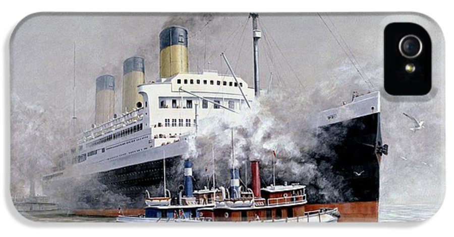 Ship IPhone 5 Case featuring the painting Making Way by Michael Swanson
