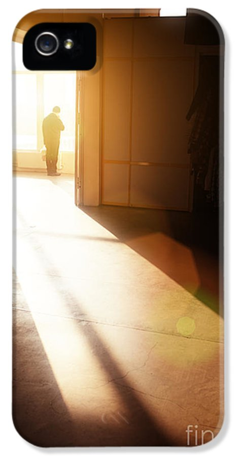 Interior IPhone 5 Case featuring the photograph Man In Building by Konstantin Sutyagin