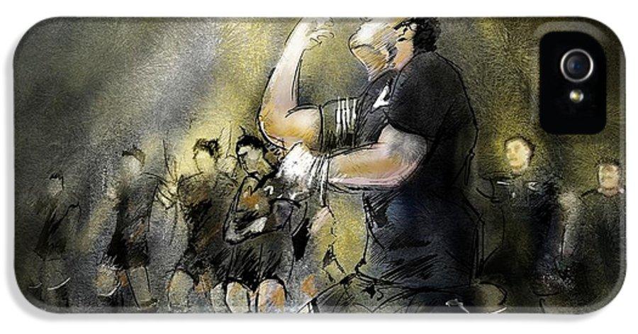 All Blacks IPhone 5 Case featuring the painting Maori Haka by Miki De Goodaboom