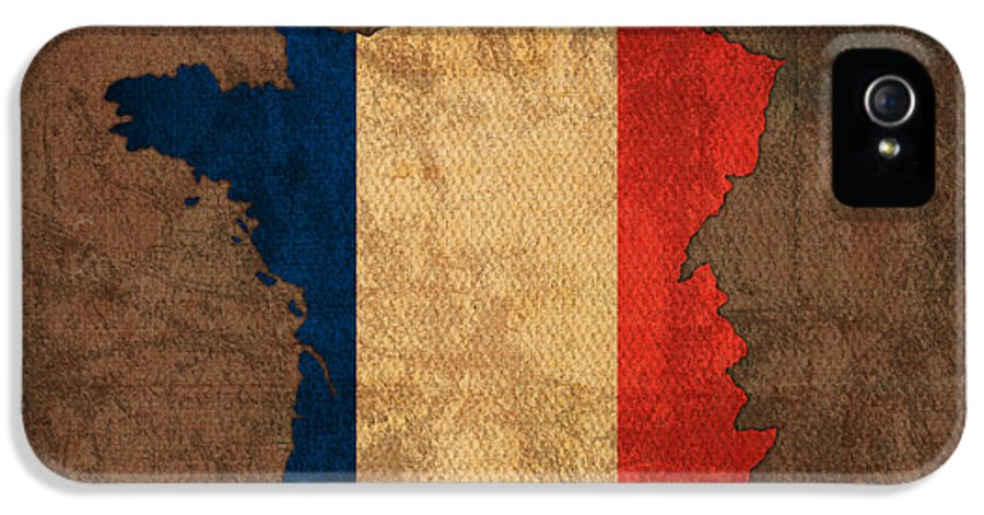 Map Of France With Flag Art On Distressed Worn Canvas IPhone 5 Case featuring the mixed media Map Of France With Flag Art On Distressed Worn Canvas by Design Turnpike
