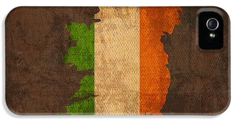 Map Of Ireland With Flag Art On Distressed Worn Canvas IPhone 5 Case featuring the mixed media Map Of Ireland With Flag Art On Distressed Worn Canvas by Design Turnpike
