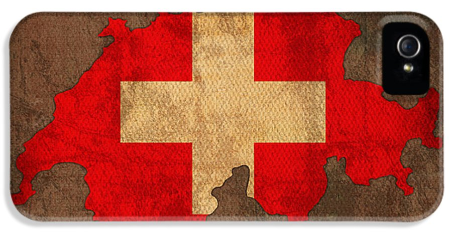 Map Of Switzerland With Flag Art On Distressed Worn Canvas IPhone 5 Case featuring the mixed media Map Of Switzerland With Flag Art On Distressed Worn Canvas by Design Turnpike