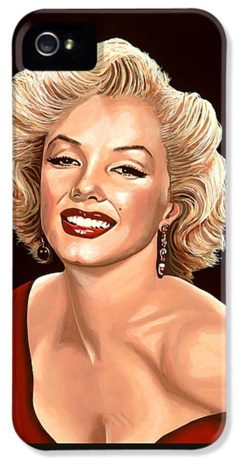 Marilyn Monroe IPhone 5 Case featuring the painting Marilyn Monroe 3 by Paul Meijering