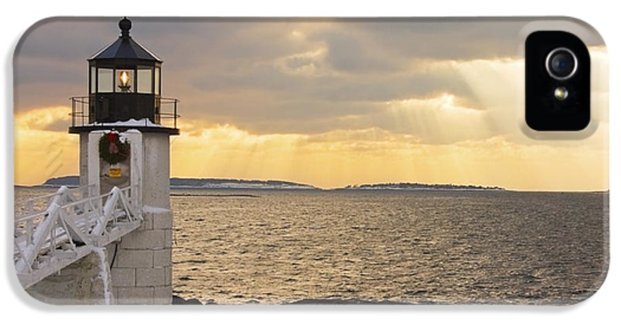 Winter IPhone 5 Case featuring the photograph Marshall Point Lighthouse In Winter Maine by Keith Webber Jr