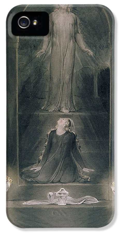 Angels IPhone 5 Case featuring the painting Mary Magdalene At The Sepulchre by William Blake