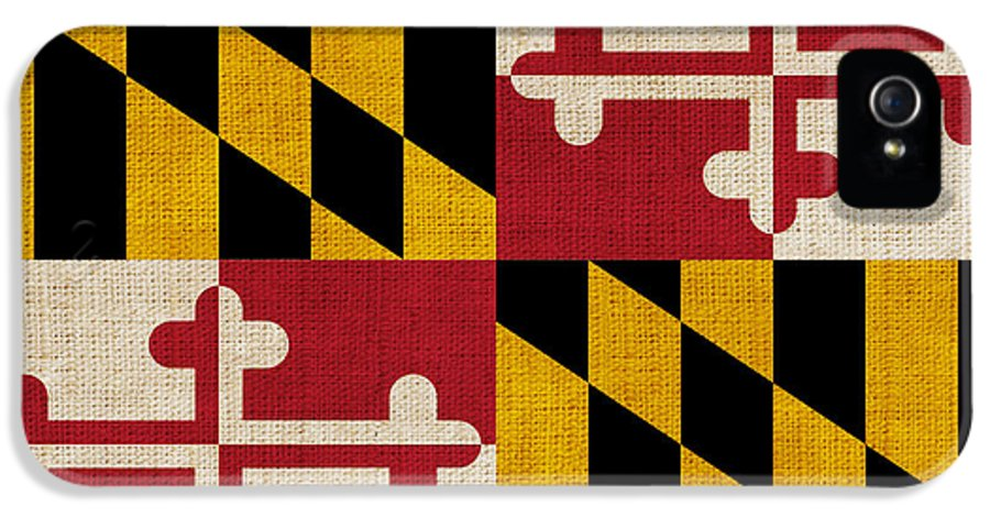 Maryland IPhone 5 Case featuring the painting Maryland State Flag by Pixel Chimp