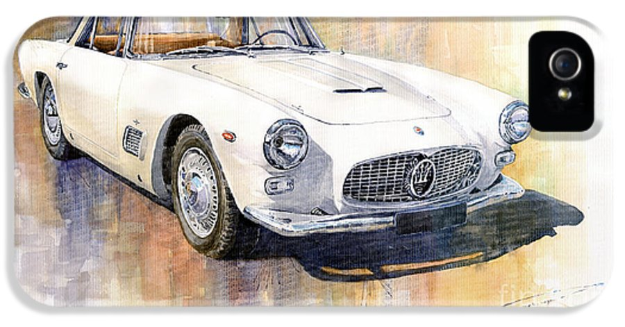 Automotive IPhone 5 Case featuring the painting Maserati 3500gt Coupe by Yuriy Shevchuk