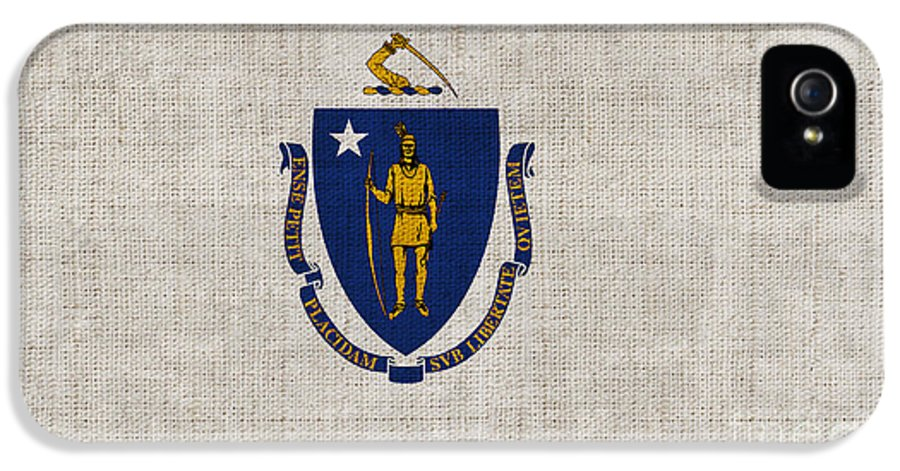 Massachusetts IPhone 5 Case featuring the painting Massachusetts State Flag by Pixel Chimp