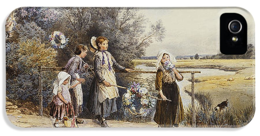 19th Century; Adult; Animal; Artwork; Bound; Bridge; British Artist; Brook; Building; Civil Engineering; Country; Departed; Dog; Drawing; English Art; Event; Exterior; Family; Female; Fine Art; Flora; Plant; Foster; Full-length; Garland; Girls; Group; Heightening; Holding Hands; House; Leaving; Mammal; May Day; Mid 19th Century; Mid Adult; Natural Space; Outdoors; Painting; Pencil; People; Plant; Rural; Sibling; Side; Sister; Stream; Touching; Victorian Pictures; Walk; Water Colour; Women IPhone 5 Case featuring the painting May Day Garlands by Myles Birket Foster