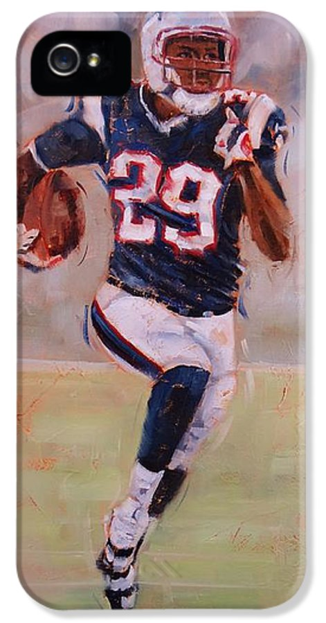 Patriots Player IPhone 5 Case featuring the painting Maybe Next Year by Laura Lee Zanghetti
