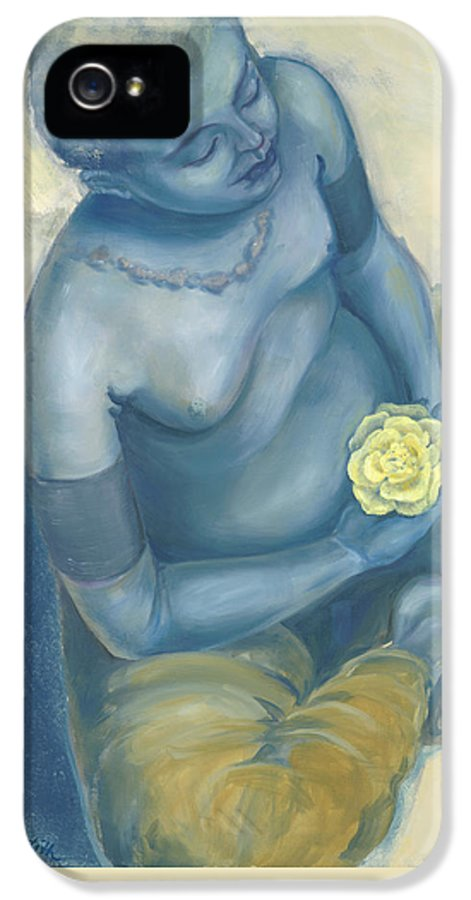Meditation With Flower IPhone 5 Case featuring the painting Meditation With Flower by Judith Grzimek