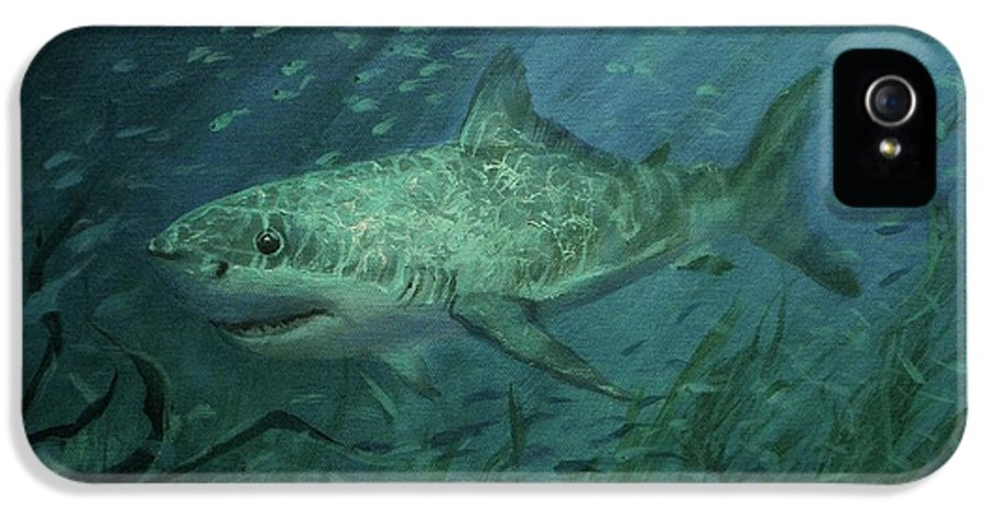 Shark IPhone 5 Case featuring the painting Megadolon Shark by Tom Shropshire