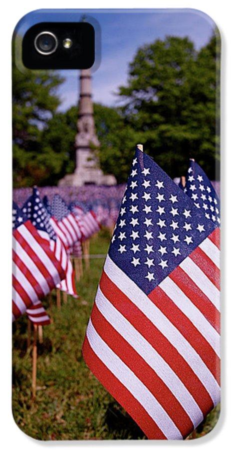 Memorial Day IPhone 5 Case featuring the photograph Memorial Day Flag Garden by Rona Black