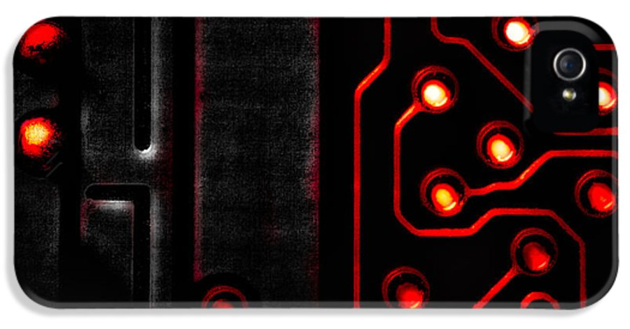 Abstract IPhone 5 Case featuring the photograph Memory Chip Bwr by Bob Orsillo