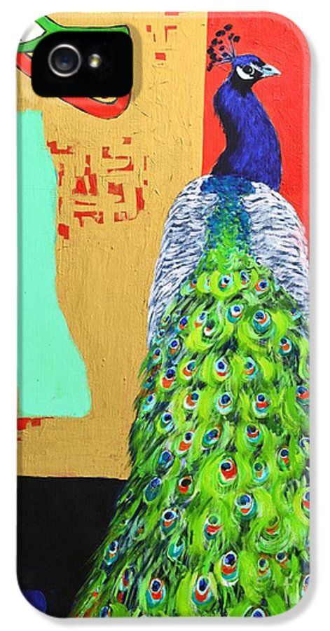 Peacock IPhone 5 Case featuring the painting Messages by Ana Maria Edulescu