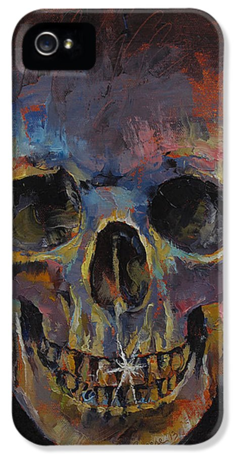 Metal IPhone 5 Case featuring the painting Skull by Michael Creese