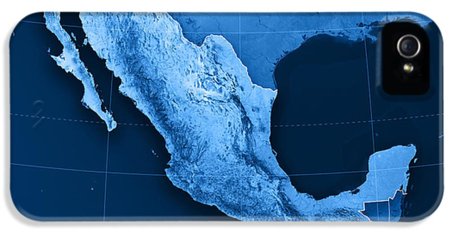 Mexico IPhone 5 Case featuring the digital art Mexico Topographic Map by Frank Ramspott