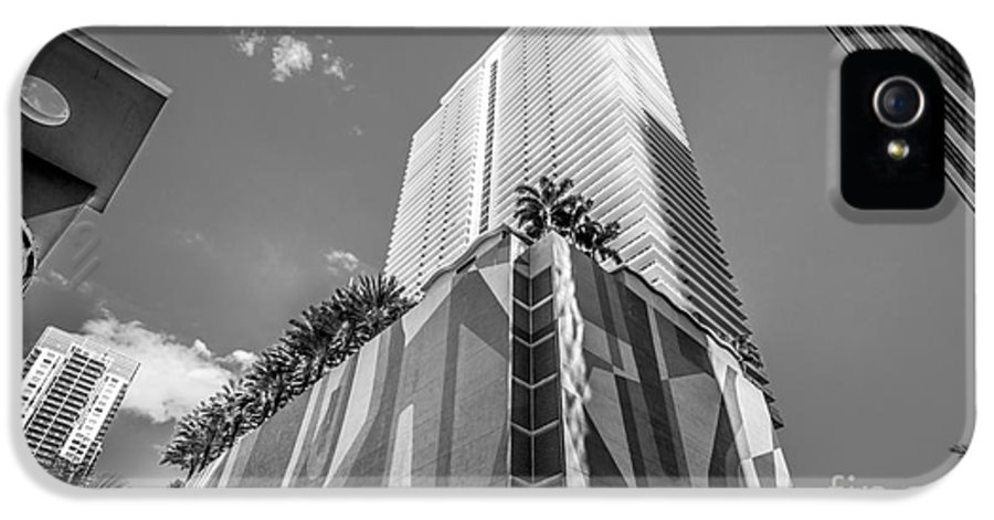America IPhone 5 Case featuring the photograph Miami Downtown Buildings - Miami - Florida - Black And White by Ian Monk