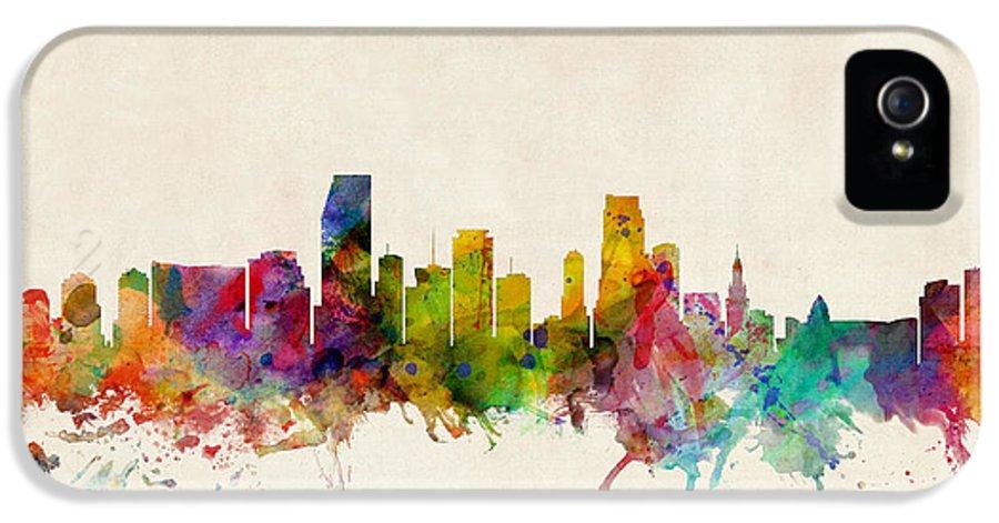 Watercolour IPhone 5 Case featuring the digital art Miami Florida Skyline by Michael Tompsett
