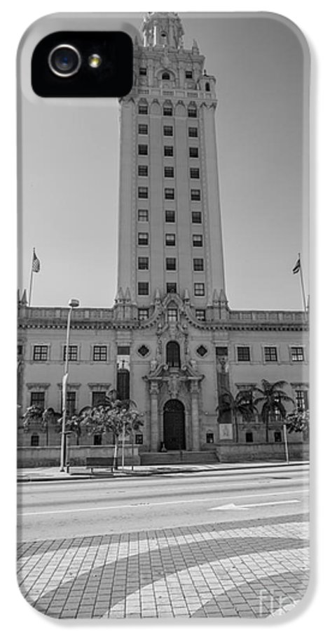America IPhone 5 Case featuring the photograph Miami Freedom Tower 3 - Miami - Florida - Black And White by Ian Monk