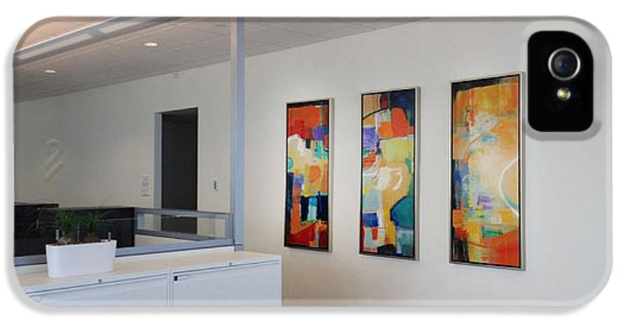 Contemporary Artwork By Artist Sheila Elsea239.404.6949now Accepting Commissions From Designers IPhone 5 Case featuring the painting Miami Rythym Triptych by Sheila Elsea