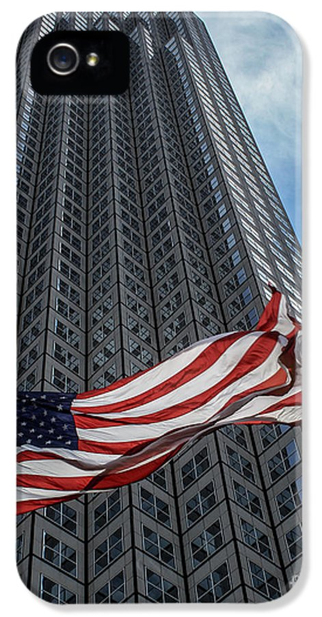 American Flag IPhone 5 Case featuring the photograph Miami's Financial Center And Old Glory by Rene Triay Photography