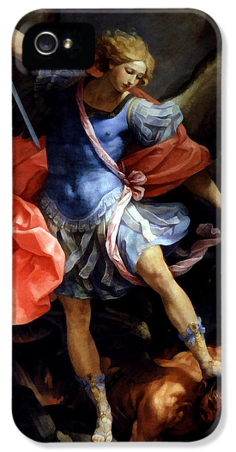 Guido Reni IPhone 5 Case featuring the digital art Michael Defeating Satan by Guido Reni