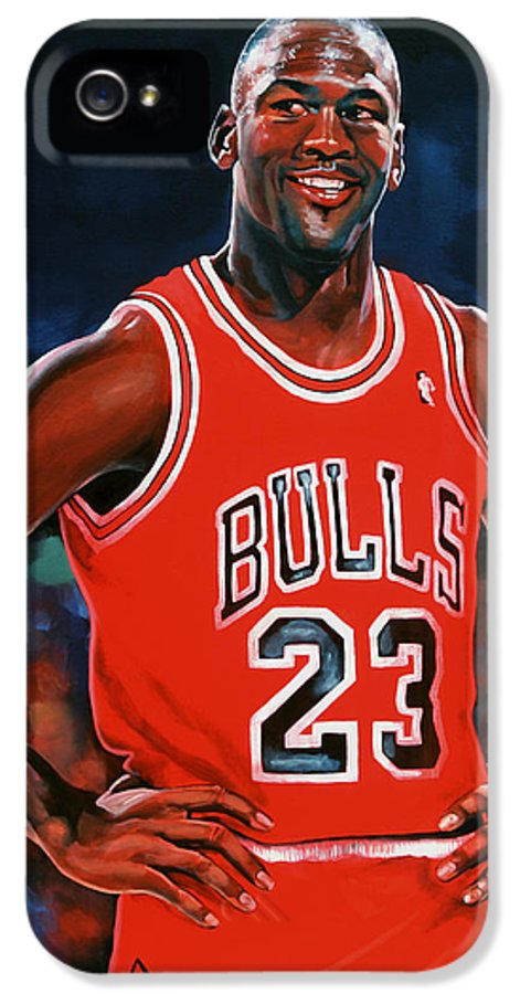 Michael Jordan IPhone 5 Case featuring the painting Michael Jordan by Paul Meijering
