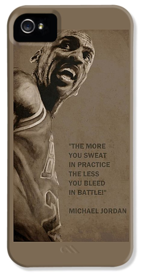 Michael IPhone 5 Case featuring the painting Michael Jordan - Practice by Richard Tito
