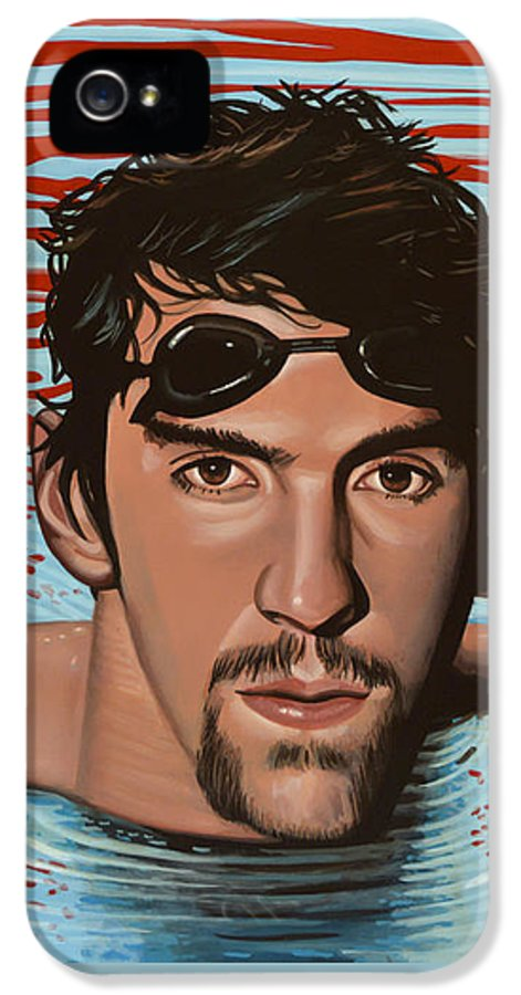 Michael Phelps IPhone 5 Case featuring the painting Michael Phelps by Paul Meijering