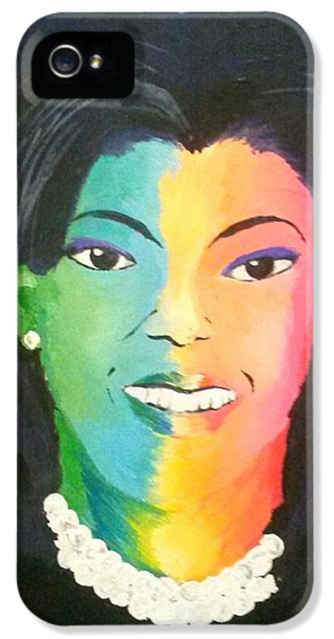 Michelle Obama IPhone 5 Case featuring the painting Michelle Obama Color Effect by Kendya Battle