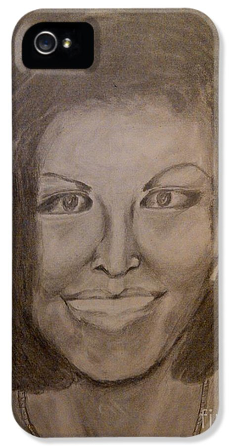 Michelle Obama President First Lady Black Woman History Politics Washington White House Heroin Portrait Ebony Civil Rights Smile Role Image Modern Politics United States Democrat IPhone 5 Case featuring the drawing Michelle Obama by Irving Starr