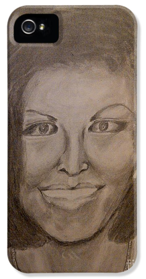 Michelle Obama President First Lady Black Woman History Politics Washington White House Heroin Portrait Ebony Civil Rights Smile Role Image Modern Politics United States Democrat IPhone 5 / 5s Case featuring the drawing Michelle Obama by Irving Starr