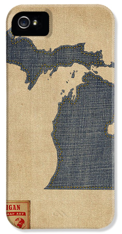 United States Map IPhone 5 Case featuring the digital art Michigan Map Denim Jeans Style by Michael Tompsett